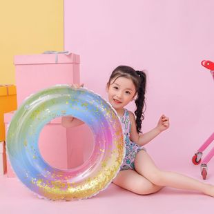 Sequins rainbow swimming ring children swim ring environmentally thick pvc NHWW142511's discount tags