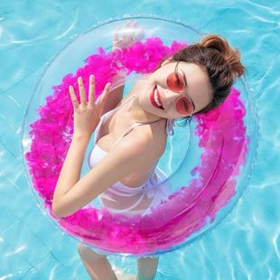 Adult thick PVC inflatable transparent swimming ring NHWW142512's discount tags