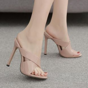 European and American patent leather cross belt sexy open toe high heel sandals NHSO142532's discount tags