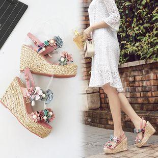Fashion flower high heel platform sandals NHHU142533's discount tags