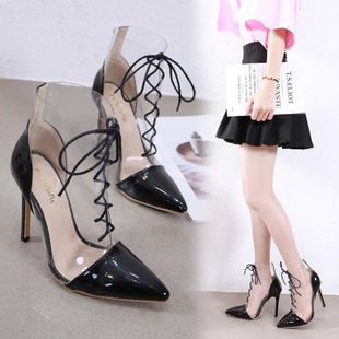 Transparent stiletto heel boots pointed strap sandals NHSO142534's discount tags