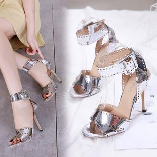 Europe and the United States high-heeled hollow button alloy female sandals NHSO142541's discount tags
