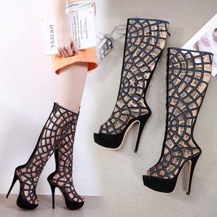 Europe and the United States wind hollow rhinestone high heel boots cool boots NHSO142545's discount tags