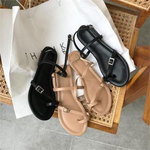 Wild gentle fairy wind Roman toe flat sandals NHHU142546's discount tags