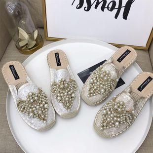Fashion casual half slipper beads fisherman shoes NHHU142553's discount tags