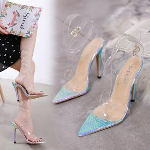 Fashion large size snake pattern transparent cross with stiletto high heel sandals NHSO142555's discount tags