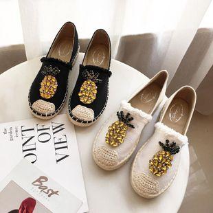 Fashion canvas pineapple rhinestone twine tassel fisherman shoes NHHU142560's discount tags