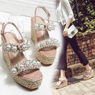 Fashion Beads Open Toe Buckle Sandals NHHU142564's discount tags