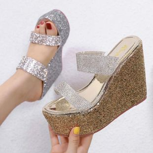 Super high heel wedge with transparent film rhinestone sandals and slippers NHSO142566's discount tags