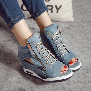 Denim inner side zipper hollow wedge with fish mouth sandals NHHU142567's discount tags