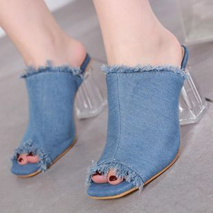 Fashion imitated crystal thick with denim high heel slippers NHSO142569's discount tags