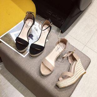 Korean version of the hemp rope open toe waterproof platform classic sandals NHHU142570's discount tags