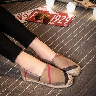 Classic plaid canvas flat lazy flat  shoes NHHU142571's discount tags