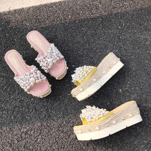 Fashion Beads Rhinestone High Heel Slippers NHHU142574's discount tags