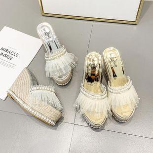 Wild sweet beads high heel platform slippers NHHU142576's discount tags