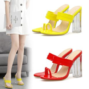 Large size imitated crystal with a word with toe sandals and slippers NHSO142589's discount tags