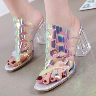 Fashion imitated crystal thick with transparent rubber slippers NHSO142592's discount tags