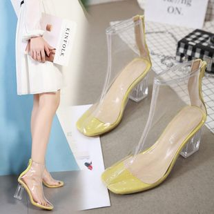 Imitated crystal clear rubber thick with high heel sandals NHSO142593's discount tags