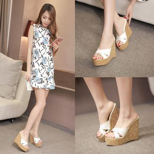 Sexy wedge with thick bottom fish mouth high heel slippers NHHU142598's discount tags