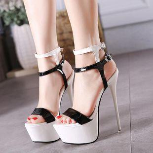 Large size stiletto super high heel platform open toe sandals NHHU142599's discount tags