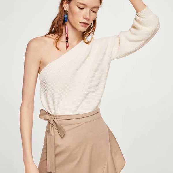 Fashion autumn one-shoulder solid color sweater NHAM142624