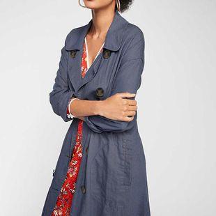 Fashion denim blue long female trench coat NHDF142675's discount tags
