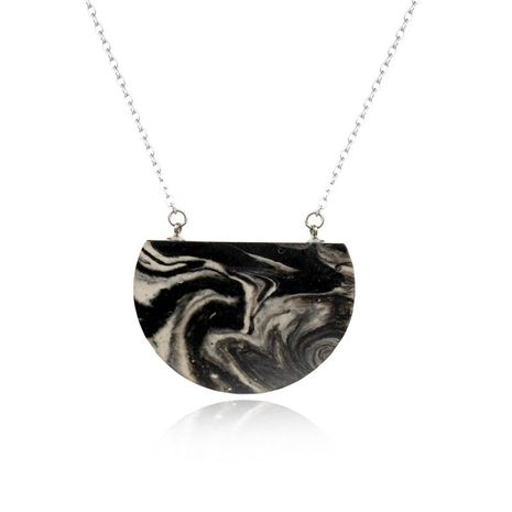 Handmade clay semicircle pendant necklace NHGO142756's discount tags