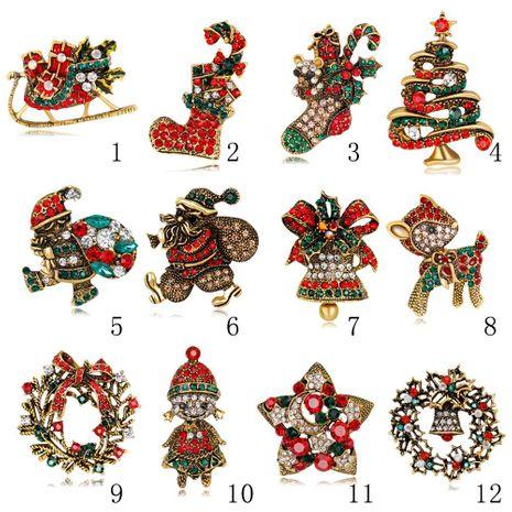 Árbol de navidad santa broche botas muñeco de nieve campana de trineo boutonniere NHDR142841's discount tags