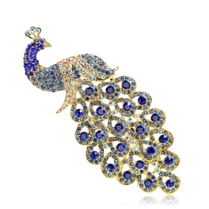 Cartoon sapphire imitated crystal rhinestone peacock brooch NHDR142870
