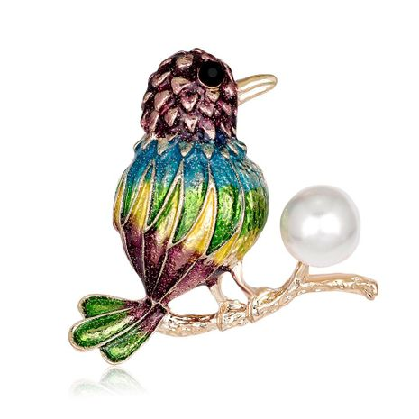 Hand painted drip oil bird brooch NHDR142883's discount tags