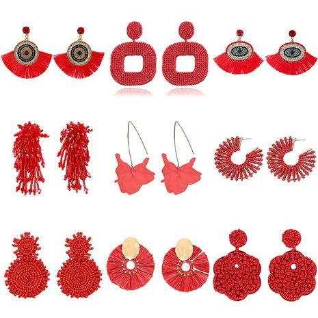 Colored red rice beads acrylic rhinestone earrings NHJQ142896's discount tags