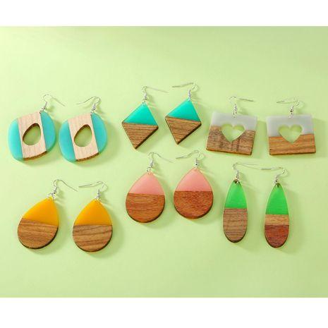 Stylish geometric large oval wood earrings NHGO142901's discount tags
