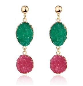 Fashion natural stone oval earrings NHGO142936