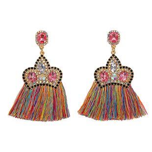 Aretes de diamantes con incrustaciones de aleación de corona de moda NHJQ142943's discount tags