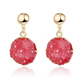 New multicolor round natural stone earrings NHGO142949