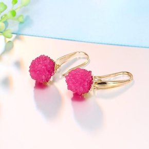 New natural stone alloy round earrings NHGO142954