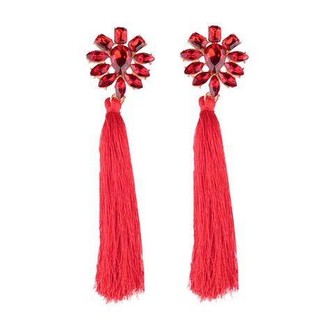 Fashion openwork zircon long tassel earrings NHJQ142975's discount tags