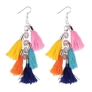 Geometric irregular multi-layer color tassel earrings NHJQ142986's discount tags