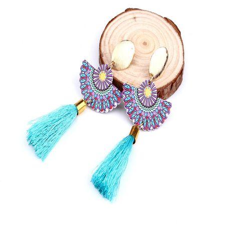 Fashion long fringed fan earrings NHGO142993's discount tags