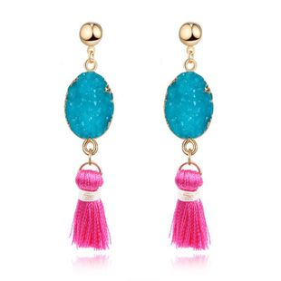 New natural stone long tassel earrings NHGO143002's discount tags