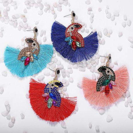 Fashion Acrylic Color Rhinestone Parrot Tassel Earrings NHJQ143022's discount tags