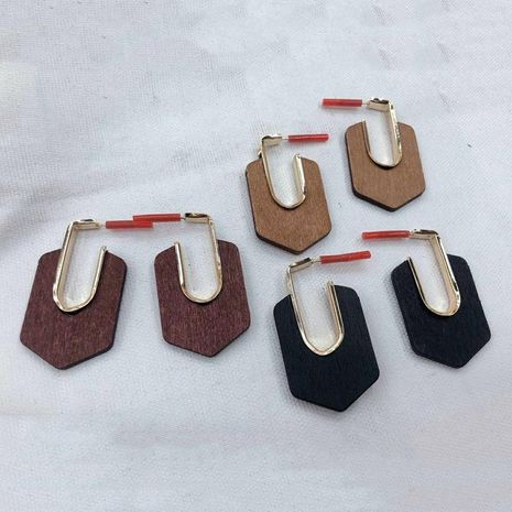 Vintage geometrical wooden earrings NHGO143030's discount tags