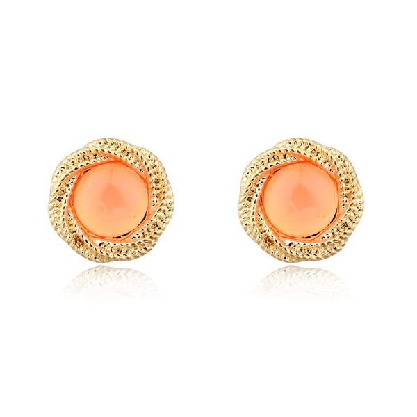 Womens Round Resin Stud Earrings NHGO143050