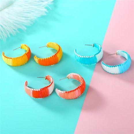 Womens Semicircle Raffia Earrings NHGO143055's discount tags