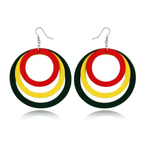 Simple round multi-layer wooden earrings NHGO143061's discount tags