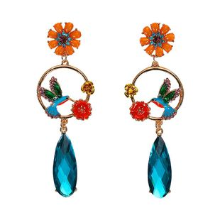 New long rhinestone-studded flower bird earrings NHJQ143086's discount tags