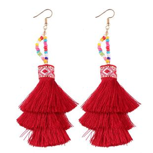Nuevos aretes con flecos mujer NHJQ143092's discount tags