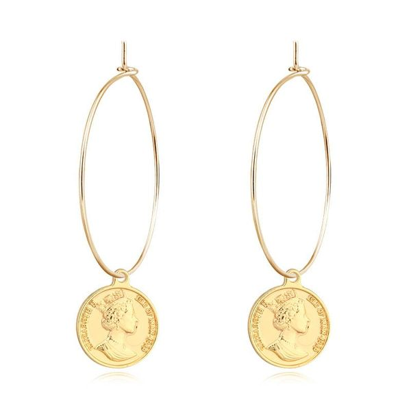 Vintage round coin alloy earrings NHGO143119