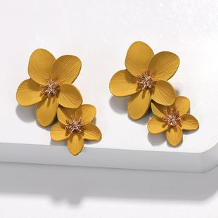 New retro plum color flower earrings NHJQ143123's discount tags
