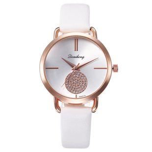 Creative small alloyen ball rhinestone inlaid Roman scale quartz watch NHHK143338's discount tags